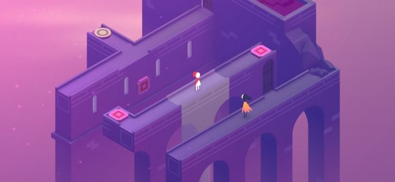 A screenshot of Monument Valley 2, a puzzle game where your shifting perspective gets you through difficult challenges