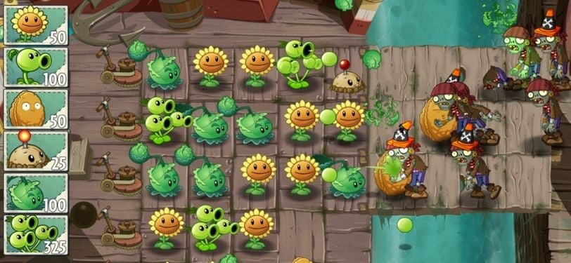 A Screenshot of Plants vs Zombies 2, a game where you defend one side of the map from zombies using a plant army