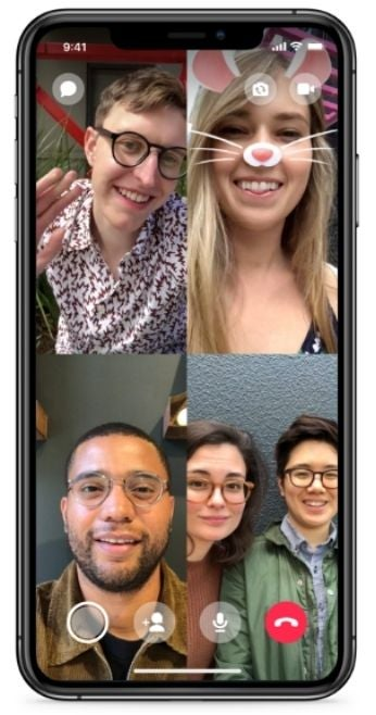 Four instances of a Facebook Messenger video call, displaying four screens.