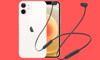 The iPhone 12 and a pair of Beats Flex bluetooth earbuds