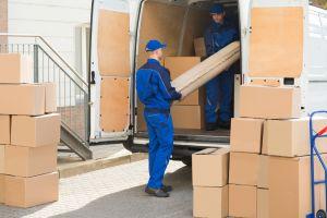 Removalists loading van