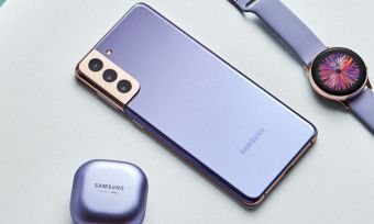 Samsung Galaxy S21 phones and accessories in violet