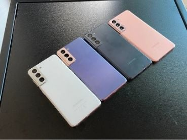 Four colour variants of the S21, a 5G capable smartphone from Samsung that releases in January 2021