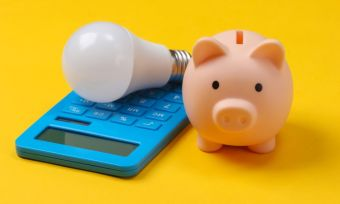 Light bulb and piggy bank