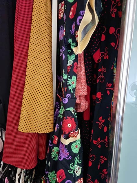 A range of fabrics in different colours and prints.
