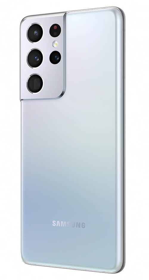 Samsung Galaxy S21 Ultra phone in silver