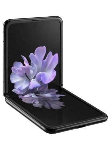 The Samsung Galaxy Z Flip in a half folded position.