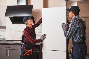 Men moving fridge