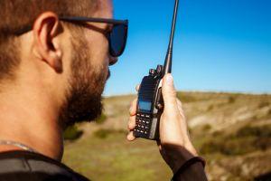 Man using two-way radio