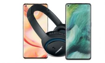 A pair of Bose Soundlink wireless headphones, beside the OPPO Find X2 Pro and OPPO Find X2 Neo