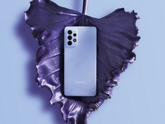 The Samsung Galaxy A72 in violet