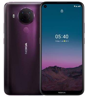 Front and back of Nokia 5.4 in dusk purple colourway