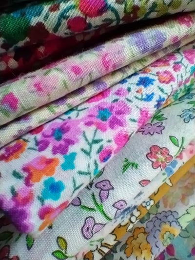 Closeup macro photo of floral fabrics