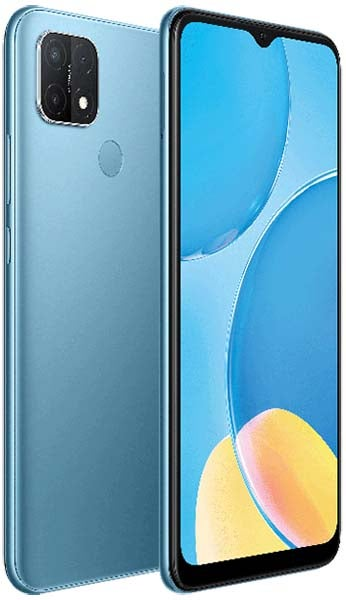 Front and back of OPPO A15 in blue