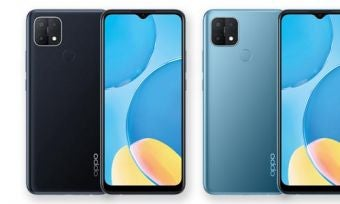 Front and back of OPPO A15 phones in blue and black colourways
