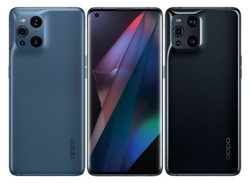 The back and front of three OPPO Find X3 Pro phones