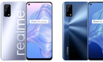Front and back of Realme 7 5G phones in blue and silver