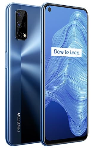 Front and back of Realme 7 5G in blue colourway