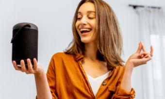 Girl with Smart Speaker