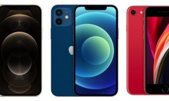 Three iPhones in different colours