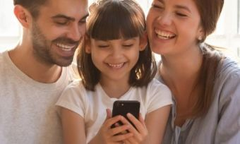 A family using a phone