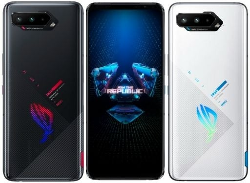 The ROG Phone 5; the centre image is the front of the phone, and the side images are the back of the phone