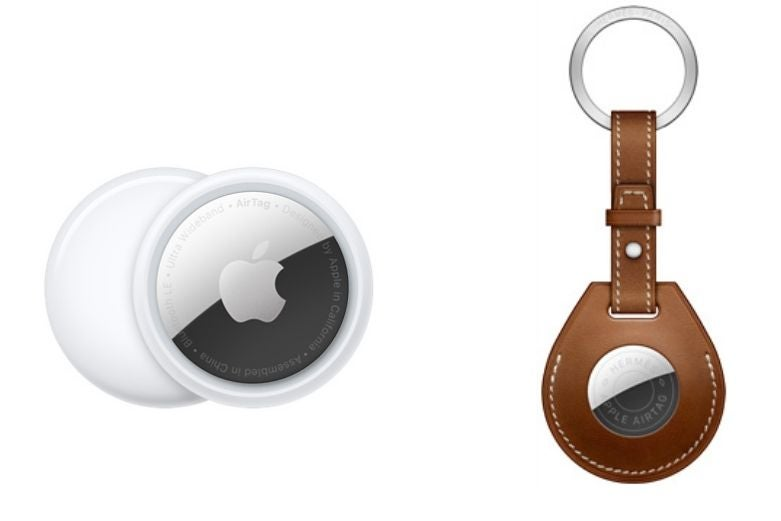 Apple AirTags, with an AirTag sleeve on the right