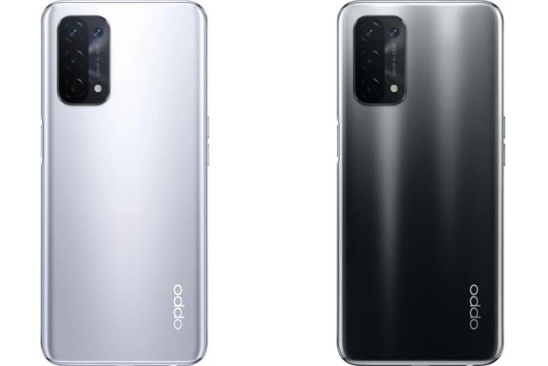 The OPPO A74 5G in two different colours