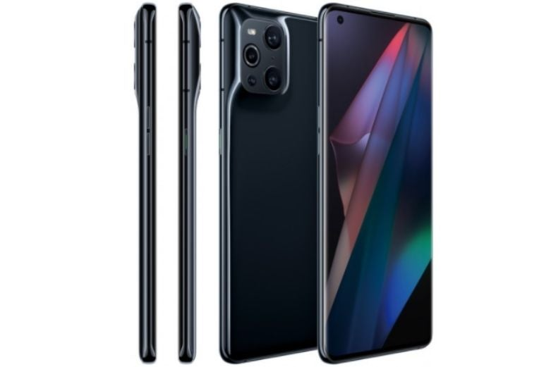 The OPPO Find X3 Pro from several different angles