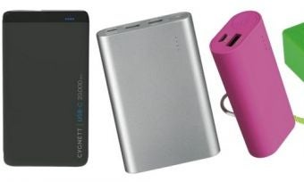a selection of portable phone chargers