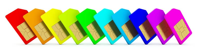 Phone SIM cards in many colours
