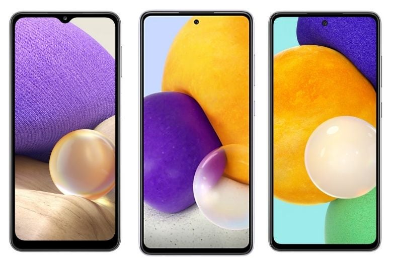 From left to right: The Samsung Galaxy A32, A72 and A52