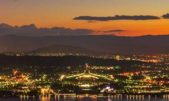 Canberra skyline light up