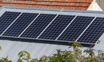 Solar panels on home rooftop