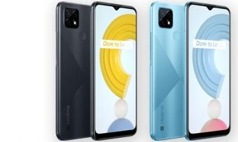 Front and back of Realme C21 phones in black and blue colours