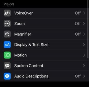 Vision Accessibility Features iPhone