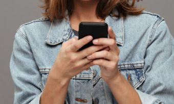 Woman using Android phone