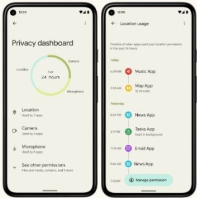 Android 12 phones showing privacy features