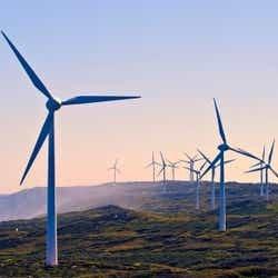 Wind turbines on hill side