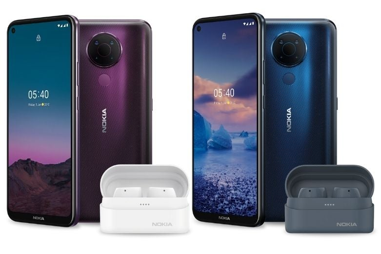 Two Nokia 5.4 phones with Nokia Power Lite Earbuds