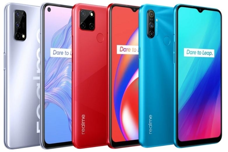 A selection of realme phones