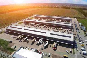 Aerial view of business warehouse