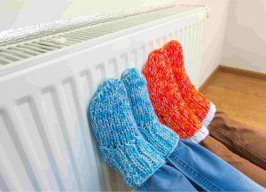Natural gas heater warming feet
