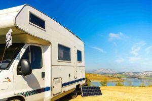 Caravan with solar panel
