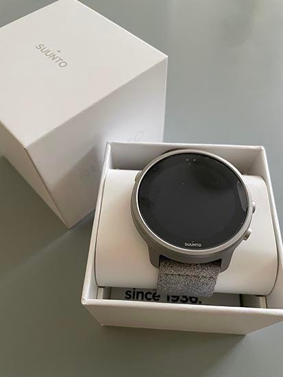 Grey colourway of Suunto 7 Titanium watch in box