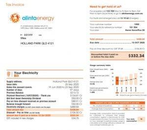 Alinta Energy Utility Bill Sample
