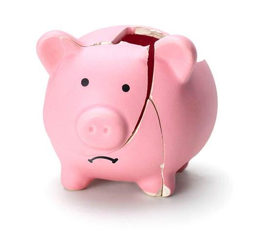 Broken pink piggy bank