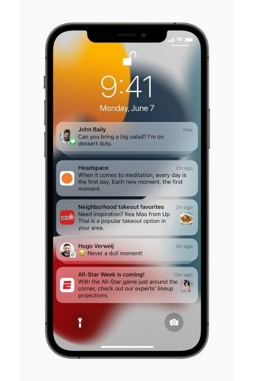 An iPhone showing new notifications in iOS 15
