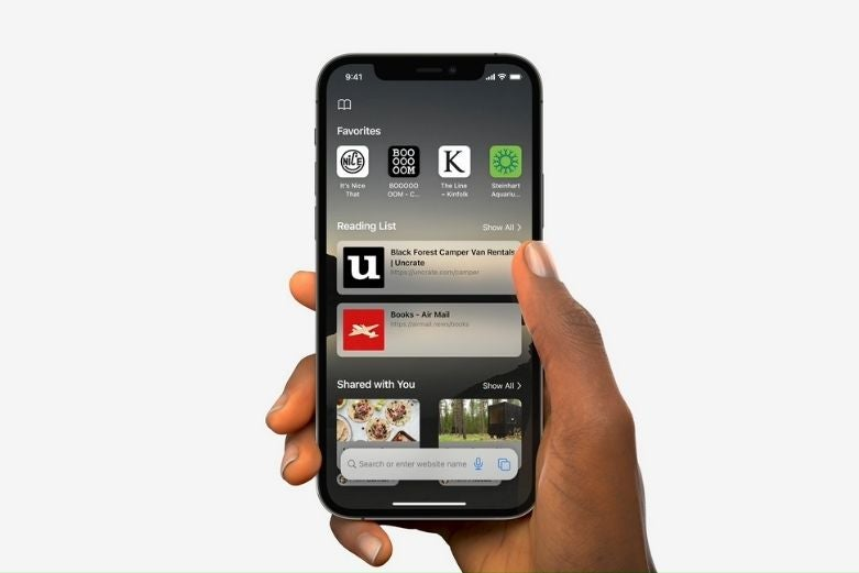 An iPhone showing a revamped Safari browser