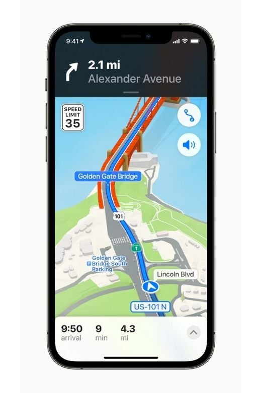 An iPhone showing Apple Maps in iOS 15